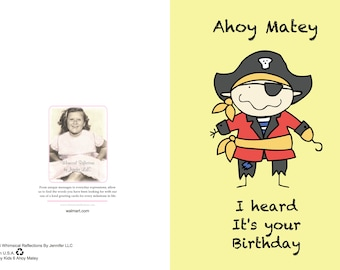 Ahoy Matey is a birthday card your little buddy will never forget. Pirate birday card, Kids birthday