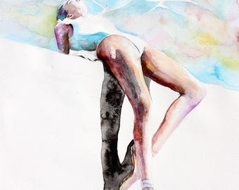Original Watercolor Painting - Life On Mars. Portrait of ballerina. Flying birds.