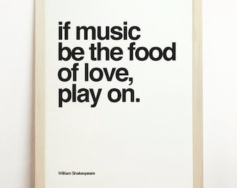 If Music Be The Food Of Love Play On Black White Print Wall Hanging Letterpress William Shakespeare Monochrome Poster Decor Motivational Art
