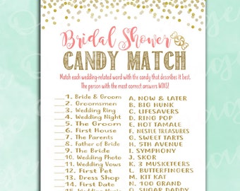 Bridal Shower Game - Wedding Candy Match - Coral & Gold - Instant Printable Digital Download - How Sweet It Is Activity Fun Unique Printable