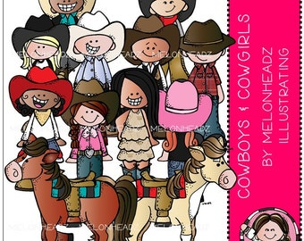 Cowboys and Cowgirls clip art - COMBO PACK