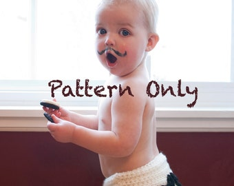 Instant Download Mustache Diaper Cover Crochet Pattern PDF