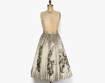 Vintage 50s Mexican Circle SKIRT / 1950s Mexican Hand Painted Metallic Gold Sequin Full Skirt S