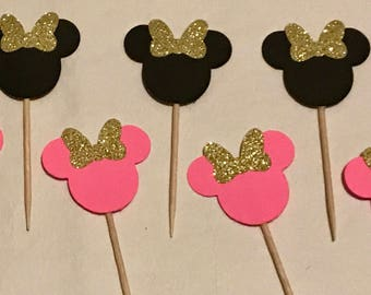 24 piece Minnie Mouse cupcake toppers