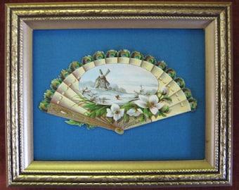 Antique Paper Fan Peacock Blue Victorian Ephemera Framed Romantic Home Decor