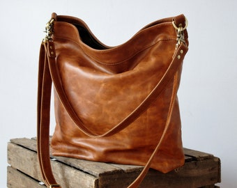 Tan leather shoulder bag, leather bag, shoulder bag, crossbody bag, leather handbag, leather purse, hobo crossbody