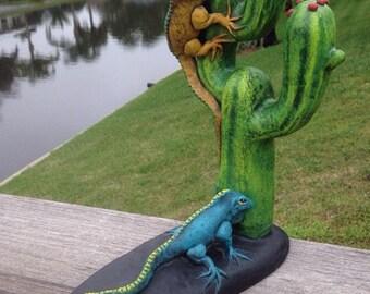 Vintage Jorge Ochoa Mexican Pottery Clay Ceramic Iguanas & Cactus Sculpture Folk Art