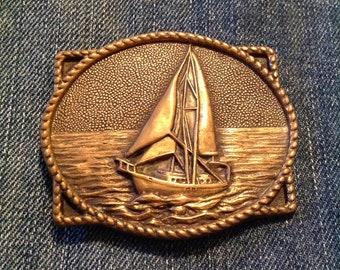 Vintage Nautical Sailboat - brass belt buckle 1978