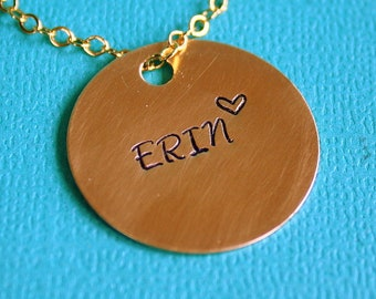 Brass Disc Necklace - Hand Stamped Jewelry - Gift - Custom Name Pendant - Personalized