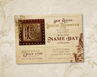 Game of Thrones Birthday Party Invitation,  A Song of Ice and Fire Name Day Printable Custom Invite, ASOIAF GOT Invitation Digital File