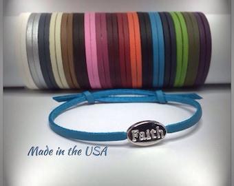 Adjustable leather Faith bracelet