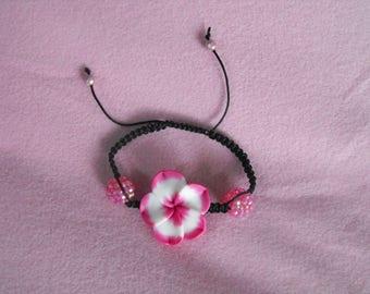 Pink and black tiare flower Shamballa