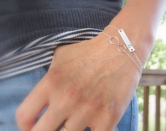 Infinity bracelet, personalized silver initial bracelet, layered bracelet, two bracelets, bar bracelet, best friend, sisters bridesmaid gift