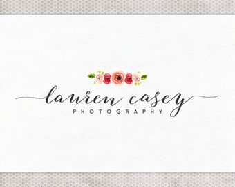 Premade Logo Design | Photography Logo | Watercolor Flowers | Black and White | Blush and Green | Hot Pink | Calligraphy Font