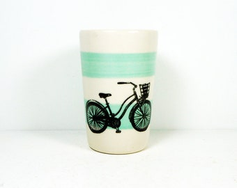 itty bitty cylinder / vase / cup with a speedy delivery bike on blue green stripes READY TO SHIP