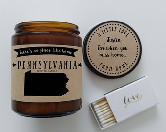 Pennsylvania Scented Candle  Missing Home Homesick Gift Moving Gift New Home Gift No Place Like Home State Candle Gift Christmas Gift