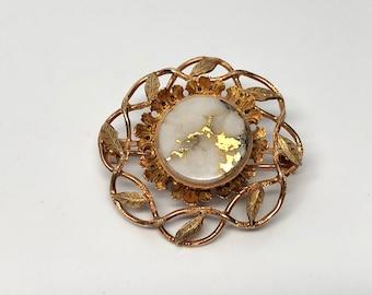 Gold in Quartz Matrix Flower Brooch, 14k
