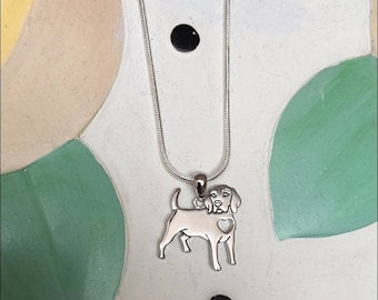 Beagle with Heart Cutout Sterling Silver Charm Necklace