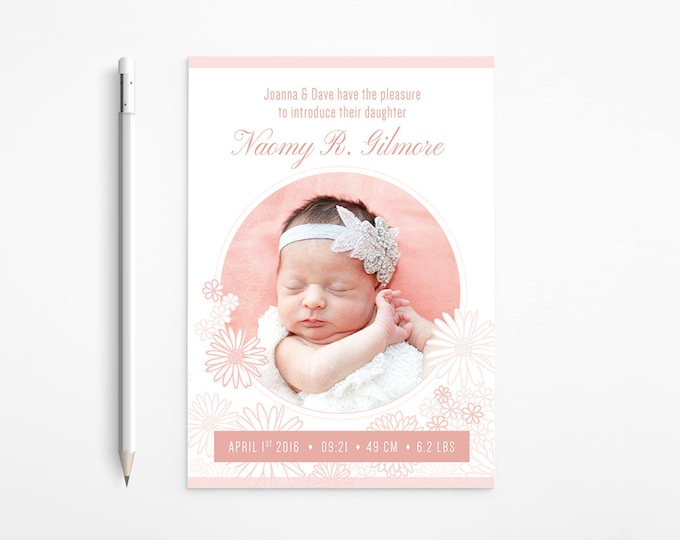 PRINTABLE - Daisies Birth Announcement with photos | Floral Baby design, Flowers, Light Coral, White, Soft Pink, Classical - Free changes