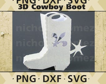 Cowboy Boot 3D Gift Box SVG, DXF, PNG