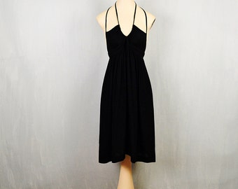 1970's Gil Aimbez Bon Menage Little Black Crepe Dress