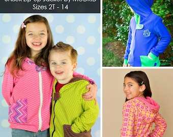 Jack and Jill Unisex Zip-Up Jacket PDF Downloadable Pattern by MODKID... sizes 2T to 14 included - Instant Download