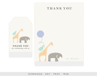 Gender Neutral Animal Thank You Cards | Baby Shower Thank You, Digital Download, Printable Template, Instant Download