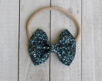Sparklers blue glitter bow