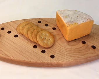 Small Cheese Board with Oval Shape Handmade from Maple and Walnut