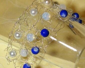 Sky - silver wire crochet bracelet