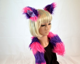 Kitty Cat Ear Tail Clip On Combo in Faux Fur Pink and Purple
