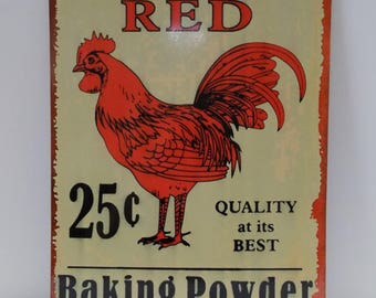 Rhode Island Red Baking Powder Rooster Country Sign TIN (R5-2)