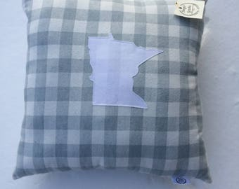 Minnesota Plaid Flannel Pillow Handmade Grey and White  Buffalo Plaid