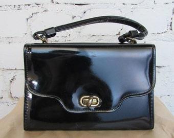 60s/70s Glossy Black Classic Handbag // Vintage Purse