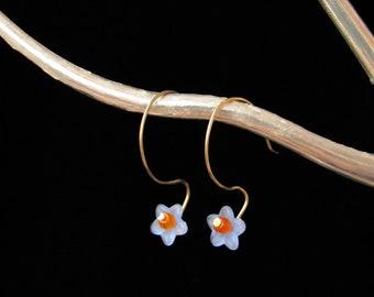 Blue and Orange Czech Crystal Earrings