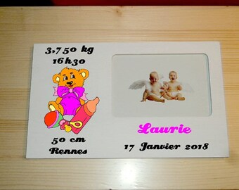 Photo frame personalized wooden baby pink or blue Inscriptions to choose