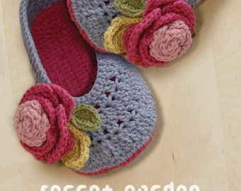 Crochet Pattern Adult Secret Garden Women House Ballerina Lady Home Slipper Female Flower Shoes Rose Appliques Women Sizes 5 - 10