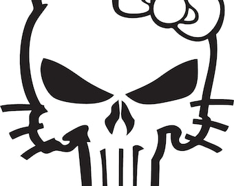 Hello Punisher Custom Decal- Inspired by Hello Kitty and The Punisher