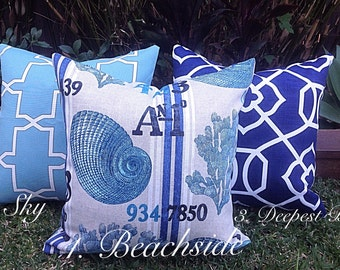 Hampton's Coastal Outdoor Cushions Outdoor Pillows Beach House Hampton's Style Blue and White Cushions, Blue Outdoor Cushions Pillows