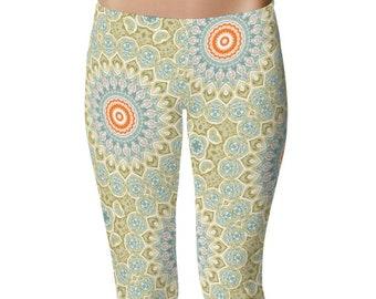 Fitness Leggings, Green and Orange Mandala Art Leggings, Boho Yoga Tights, Stretchy Yoga Pants