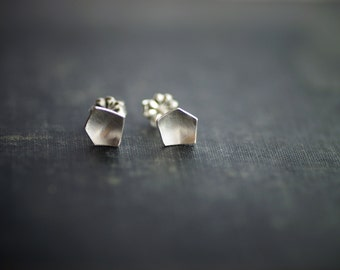 Pentagonal Post Earrings - Sterling Silver
