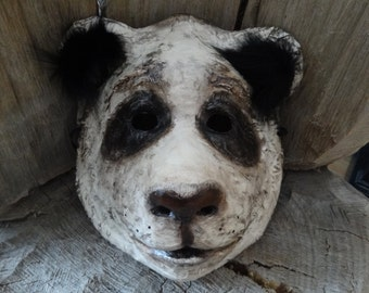 3D Mask Paper mache animal masks Panda bear mask bear costume