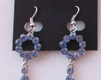 Dangle circle earrings rhinestone blue clear jewels and Metal