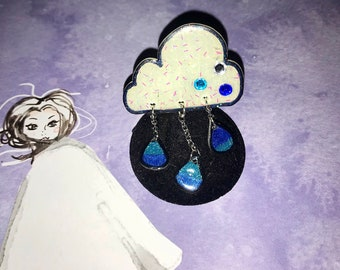 Rainy Day Cloud Pin- glitter and sparkle- white, blue, and teal rhinestones- three hanging blue ombré glitter rain drops