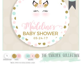 UNICORN baby shower favor sticker INCLUDES color qty and size of choice. Glossy sticker label watercolor and glitter