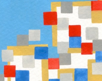"""Original miniature gouache painting artist trading card ACEO 2.5""""x3.5"""" geometric primary colors with gray red blue yellow squares modern art"""