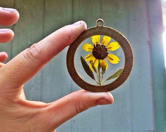 Ready to ship! 50MM Preserved Rudbeckia Hirta, Large Bronze Round Pendant Necklace