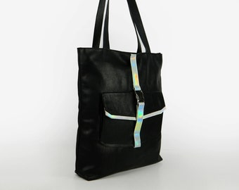 Holographic, Genuine Leather Bag Black with zipper, Big Shopper, Leather Tote bag