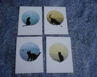 collection / 4 cards postcard cat /des 80's new condition