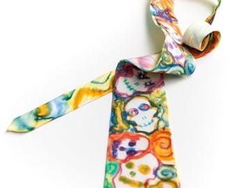 Skull silk tie - watercolor style necktie